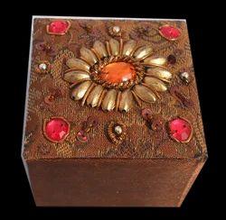 Brown Mdf Zari Handicraft Box