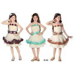 Satin Sleeveless Mini Girls Frocks