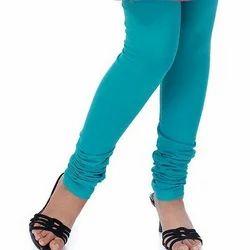 Bawri Ladies Plain Blue Cotton Lycra Churidar Leggings, Size: Free Size