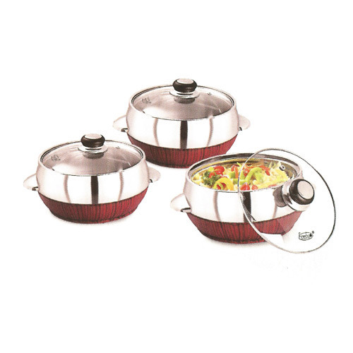 SS And Wood Glassica Wooden Gift Casserole Set, Size: 1100 And 1400 Ml