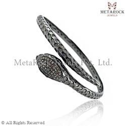 Snake Design Silver Pave Diamond Bangle