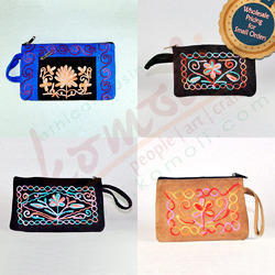 Split Suede Leather with Multi-Color Embroidery Hand Pouch