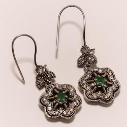 Sterling Silver Imitation Emerald Earring