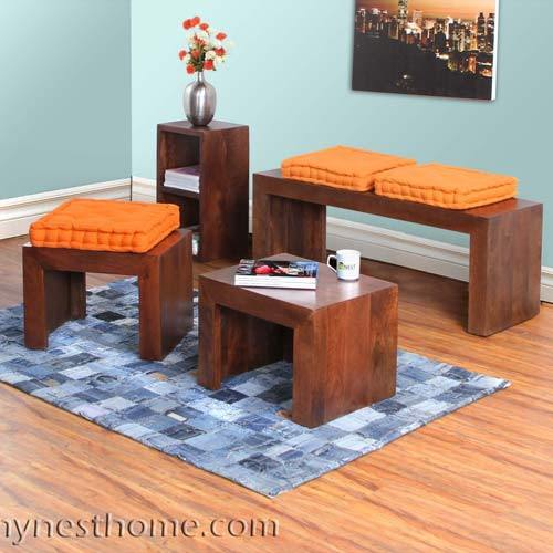 Solid Wood Nested Set Of 3 Tables