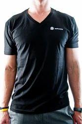 Mens Polyester V Neck Plain T Shirt