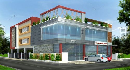 Acp Front Elevation Showroom Design : Front elevation acp structural glazing mm rs