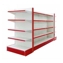 Red and White Free Standing Unit Supermarket Display Rack