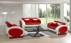Round Red White Sofa