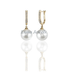 Pearl With American Diamond Earring