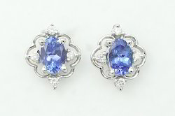 Tanzanite Diamond Silver Earring