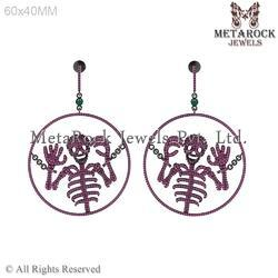 Skull Design Gemstone Earring