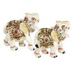 Pair Marble Elephant