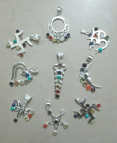 7 Chakra Healing Crystal Symbol Pendants Chandrakshi Creation