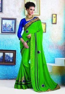 f8d5b2c511 Wedding Sarees - Green Color Faux Georgette Brasso Saree Retailer ...