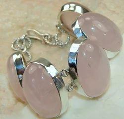 Rose Quartz Sterling Silver Link Bracelet