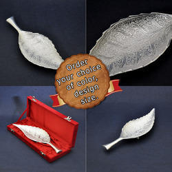 Silver Plated Leaf Shaped Large Serving Tray