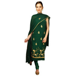 Kashmiri Tilla Hand Embroidered Pure Crepe Suit With Dupatta