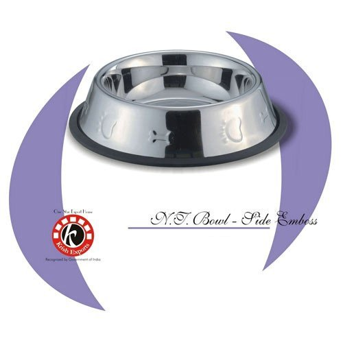 Stainless Steel Silver Side Emboss Non-Tip Pet Bowls