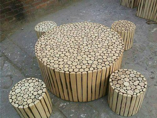 Round Handmade Wooden Log Coffee Table Set Shah Kreations