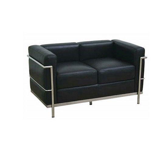 2 Seater Office Black Sofa