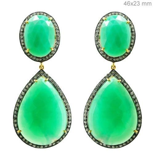Chrysoprase Gemstone Drop Earrings
