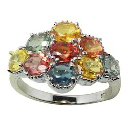Multi Gemstone Silver Ring