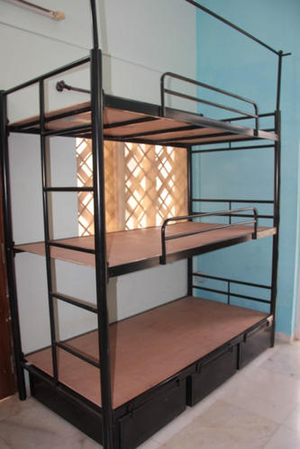 Black 3 Tier Bunk Bed With Ply Base Storage Size 6 25 X 3 Feet