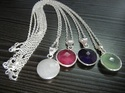Nanplanetsilver Gemstone Sterling Silver Bezel Set Necklace