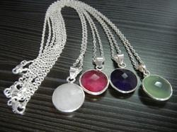 Gemstone Sterling Silver Bezel Set Necklace