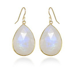 Rainbow Moonstone Gold Vermeil Bezel Set Earrings