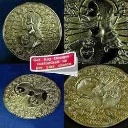 Komoli Golden Hammering Art - Jesus Christ - Repousse Work on Brass Sheet, Size: 5 Inch, For Holy Worship