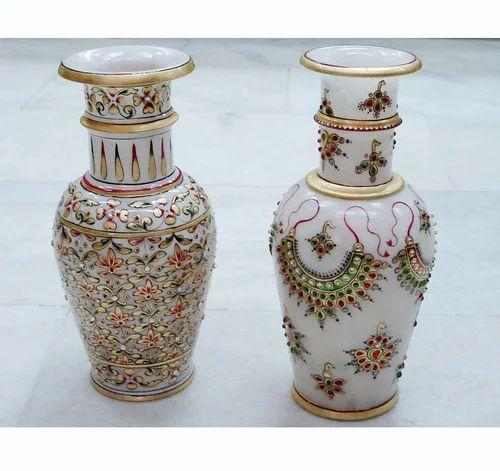 Natural Stone Vases Marble Handicraft Vases Kanta Jaipur Kuber