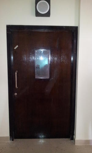 Metal Standard Wooden Fire Rated Single Leaf Door With Vision Panel