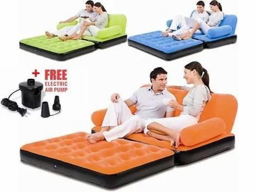 Branded Velvet Air Sofa Cum Bed Inflatable Air Sofa Hava Wale Sofa
