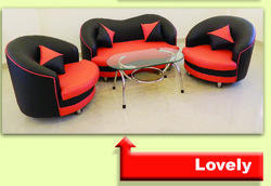 Red-Black Sofa Set
