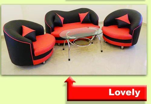 Red-Black Sofa Set