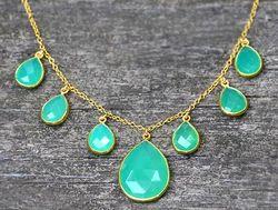 Aqua Chalcedony Silver Gemstone Necklace