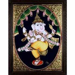 Dancing Ganapati Tanjore Painting