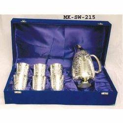 MKI Brass Silver Finish Jug & Glasses Set, 6 Glasses & 1 Jug