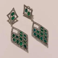 Cluster Green Onyx Earring