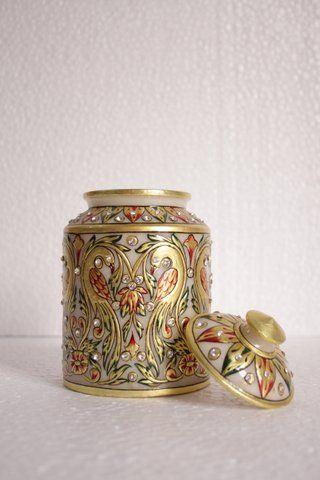Marble Designer Jar with Lid 7 inch