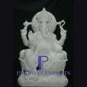 White Marble Ganesha Statue With Lotus Base