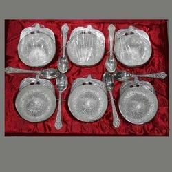 Silver Plated Bowl with Spoon Set