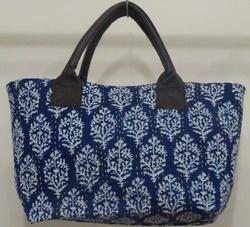 Kantha Handmade Cotton Bag indigo blue