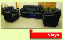 Vidya Leather Cushioned Sofa Set