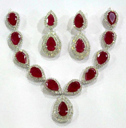 Ad Stone Necklace Set At Rs 30 Gram S American Diamond
