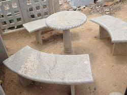 Granite Bench Set With Round Table
