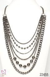 Alloy Metal Silver Chain Multi-Strand Necklace