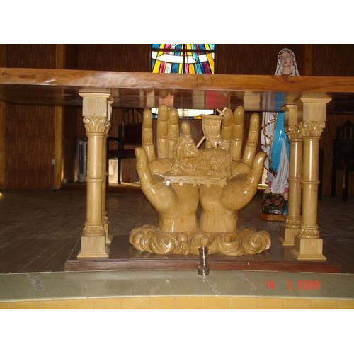 Wooden And Fiber Altar Table Manufacturer From Thane
