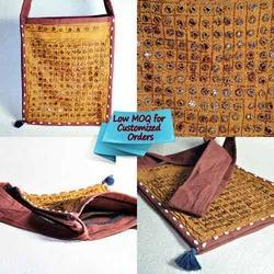 Hand Handled Cotton Brown Earthy Patch Working Banjara Drawn String Bag, For Casual Wear